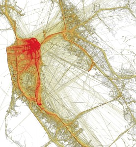 This figure reflects the trails of 528 taxis in San Francisco, based on one month data.